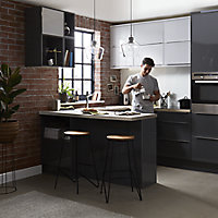 GoodHome Stevia Gloss anthracite slab Highline Cabinet door (W)600mm