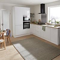 GoodHome Stevia Gloss white slab Highline Cabinet door (W)300mm (T)18mm