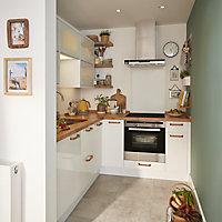 GoodHome Stevia Gloss white slab Highline Cabinet door (W)300mm
