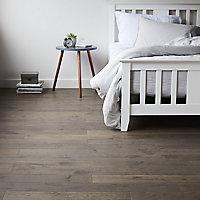 GoodHome Sumbing Grey Oak Real wood top layer flooring, 1.4m² Pack