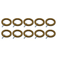 GoodHome Symi Oak effect Natural Curtain ring (Dia)28mm, Pack of 10