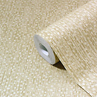 GoodHome Tarenna Gold effect Textured Wallpaper