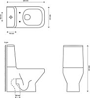 GoodHome Teesta Closed back close-coupled Rimless Toilet with Soft close seat