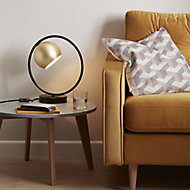 GoodHome Toroba Brushed Black Gold effect Table light