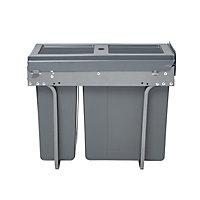 GoodHome Vigote Anthracite Acrylonitrile butadiene styrene (ABS), mild steel & polypropylene (PP) Rectangular Integrated Kitchen Pull-out bin, 26L