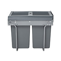 GoodHome Vigote Anthracite Acrylonitrile butadiene styrene (ABS), mild steel & polypropylene (PP) Rectangular Integrated Kitchen Pull-out bin, 36L