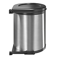 GoodHome Vigote Anthracite Metal effect Metal & plastic Round Integrated Kitchen Swing-out bin, 13L