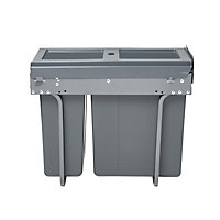 GoodHome Vigote Anthracite Rectangular Integrated Kitchen Pull-out bin, 26L