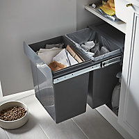 GoodHome Vigote Anthracite Rectangular Integrated Kitchen Pull-out bin, 36L