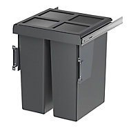 GoodHome Vigote Anthracite Silver effect Plastic Rectangular Integrated Kitchen Pull-out bin, 58L