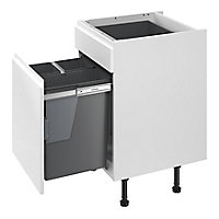 GoodHome Vigote Anthracite Silver effect Plastic Rectangular Integrated Kitchen Pull-out bin, 64L