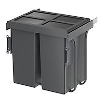 GoodHome Vigote Anthracite Silver effect Plastic Rectangular Integrated Kitchen Pull-out bin, 92L