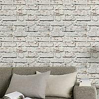 GoodHome Vulpin White Brick Smooth Wallpaper