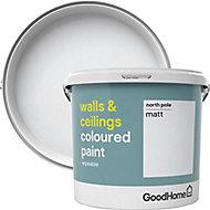 GoodHome Walls & ceilings North pole Matt Emulsion paint, 5L