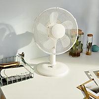 """GoodHome White 13"""" 32W Desk fan"""