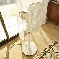 """GoodHome White 16"""" 45W Pedestal fan"""