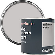 GoodHome White plains Satin Furniture paint, 500ml