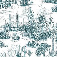 Graham & Brown Arizona Teal Cacti Smooth Wallpaper