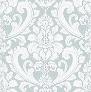 Graham & Brown Boutique Adelina Duck egg Damask Metallic effect Embossed Wallpaper