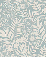 Graham & Brown Boutique Alice Duck egg Leaf Metallic effect Embossed Wallpaper