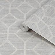 Graham & Brown Boutique Asscher Beige Geometric Textured Wallpaper