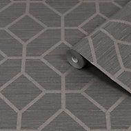 Graham & Brown Boutique Asscher Grey Geometric Bronze effect Textured Wallpaper