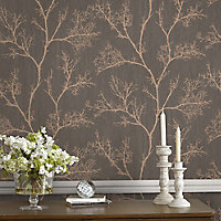 graham & brown boutique brown icy trees gold effect