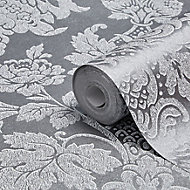 Graham & Brown Boutique Buckingham Damask Silver effect Textured Wallpaper