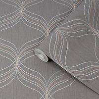 Graham & Brown Boutique Grey Geometric Bronze effect Textured Wallpaper