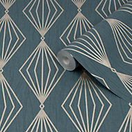 Graham & Brown Boutique Marquise Emerald Geometric Gold effect Textured Wallpaper