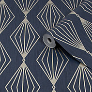 Graham & Brown Boutique Marquise Sapphire Geometric Gold effect Textured Wallpaper
