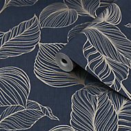 Graham & Brown Boutique Sapphire Royal palm Gold effect Textured Wallpaper