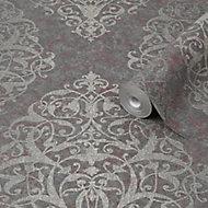 Graham & Brown Boutique Shiraz Maroon Damask Metallic effect Textured Wallpaper