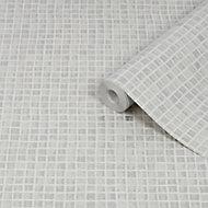 Graham & Brown Contour Grey Mosaic Tile effect Textured Wallpaper