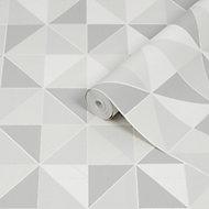 Graham & Brown Contour Grey & white Geometric Tile effect Textured Wallpaper