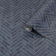 Graham & Brown Contour Navy Marble chevron Tile effect Textured Wallpaper