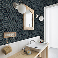 Graham & Brown Contour Teal Geometric Copper effect Textured Wallpaper