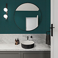 Graham & Brown Contour Teal Geometric Tile effect Textured Wallpaper
