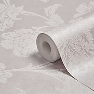 Graham & Brown Fibrous sandringham Lilac & white Floral Metallic effect Wallpaper