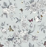Graham & Brown Fresco Blue Flowers, birds & butterflies Smooth Wallpaper