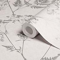 Graham & Brown Gilded fern Grey Leaf Metallic effect Smooth Wallpaper