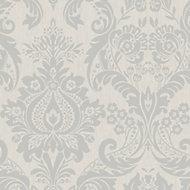 Graham & Brown Superfresco Colours Damask Silver effect Textured Wallpaper