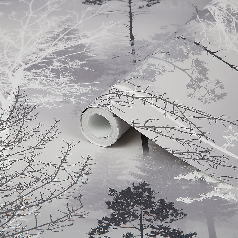 Graham Brown Superfresco Easy Black Tree Mica Effect Smooth Wallpaper Diy At B Q