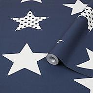 Graham & Brown Superfresco Easy Blue Stars Smooth Wallpaper