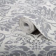 Graham & Brown Superfresco Easy Damask Silver glitter effect Embossed Wallpaper
