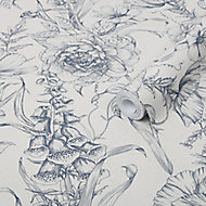 Graham & Brown Superfresco Easy Navy Floral Mica effect Smooth Wallpaper