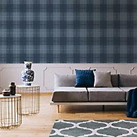Graham & Brown Superfresco Easy Navy Striped Wallpaper