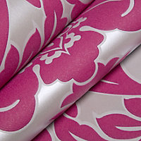 Graham & Brown Superfresco Hot pink Damask Wallpaper