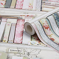 Graham & Brown Superfresco Pink Collage bookcase Smooth Wallpaper