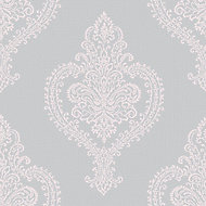 Grandeco Adalyn Blush grey Damask Mica effect Embossed Wallpaper